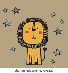 funny cartoon lion vector print
