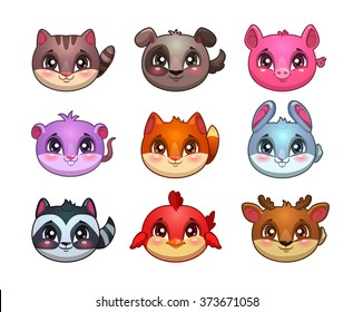 Funny cartoon little cute animals faces, bubble items for game design, vector gui assets