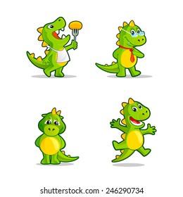 Funny cartoon little dinosaur or dragon. Vector illustrations set.