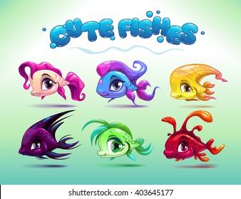 Funny cartoon little fishes set, vector aquarium animals