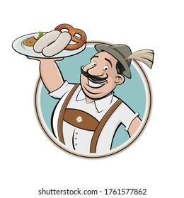 funny cartoon logo of bavarian man serving traditional bavarian white sausage