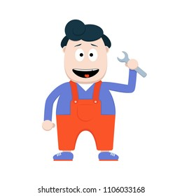 Funny cartoon male character. Repair guy with Wrench. Occupation concept
