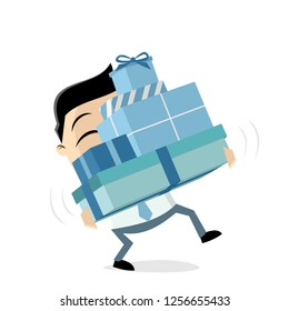 funny cartoon man is carrying gift boxes