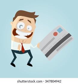 funny cartoon man with credit card