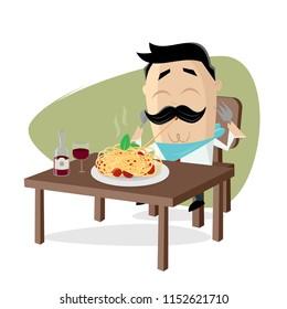 funny cartoon man eating delicious spaghetti