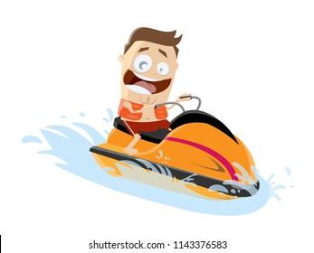 funny cartoon man riding a jet boat
