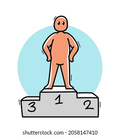 Funny cartoon man standing confident on a pedestal vector flat style illustration isolated on white, cute and positive small guy drawing or icon, champ or successful businessman concept.