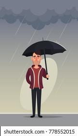 Funny Cartoon Man with Umbrella Standing Under the Rain. Vector Illustration. Rainy Day Concept