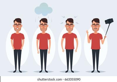 Funny Cartoon Man - Vector Set