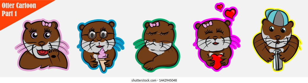funny cartoon many expression animals otter pet cute set beaver bundle pattern, ice cream, fall in love, waving, cranky, sullen