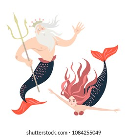 Funny cartoon mermaid and triton. Fairy tale characters Cute isolated vector illustrations on white background