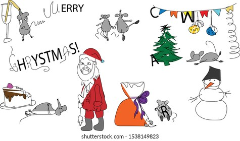 Funny cartoon Merry Christmas collection: fir-tree, snowman, santa, new year decorations, dancing and drinking mouses, celebrating the year of the Rat. Mess around doodle sketch. Cute wording.