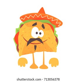 Funny cartoon Mexican taco character with meat and vegetables, traditional humanized food in traditional clothes vector Illustration
