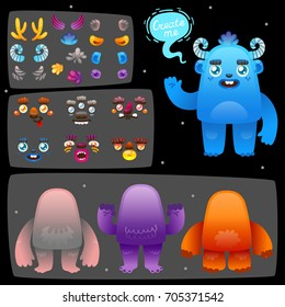 Funny cartoon monster constructor, body parts and different elements to construct creatures for children's game, app, kids toys, design, vector.