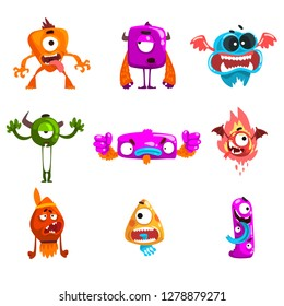 Funny cartoon monster with different emotions, colorful fabulous alien characters vector Illustration
