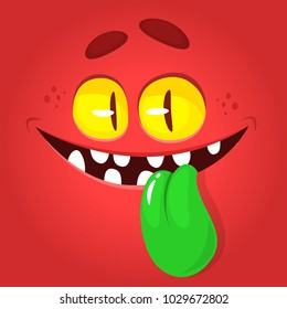 Funny cartoon monster face showing tongue. Vector Halloween red monster avatar