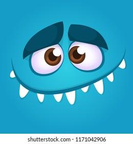 Funny cartoon monster face smiling. Vector illustration of blue creepy monster avatar. Halloween design