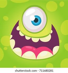 Funny cartoon monster face. Vector Halloween green cool monster avatar with wide smile. Design for print, logo, t-shirt, emblem, merchandise or book illustration