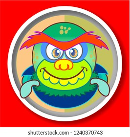 Funny Cartoon Monster and Ogres Faces - Icons - Colorful Fluffy Characters - Funny  face.