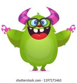 Funny cartoon monster wearing eyeglasses . Vector illustration