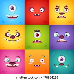 Funny cartoon monsters square cards set with facial expressions for Halloween and children birthday celebration designs