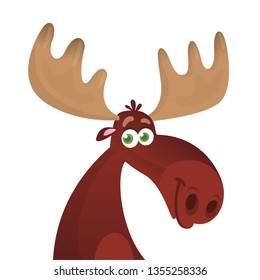 Funny cartoon moose head. vector illustration
