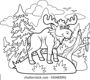 funny cartoon moose wanders through the woods