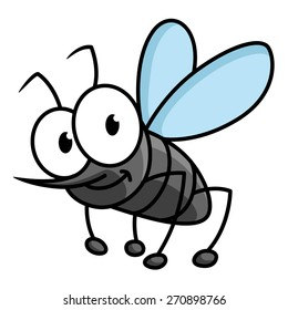Funny cartoon mosquito character with googly eyes and long curved proboscis isolated on white background