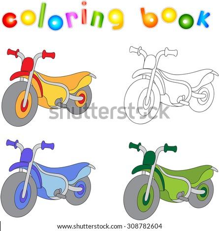 Funny Cartoon Motorcycle Coloring Book Kids Stock Vector (Royalty ...