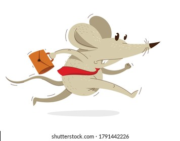 Funny cartoon mouse with tie and case like a businessman runs fast in a rush vector illustration, hurry late concept, humorous rat cartoon.