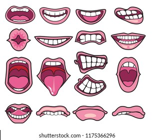 Funny Cartoon mouths set with different expressions. Smile with teeth, sticking out tongue, surprised. Simple vector illustration.