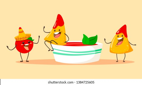 Funny and cartoon nachos chips with tomato and a cup of tomato salsa with basil. Vector illustration
