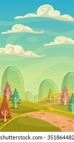 Funny cartoon nature landscape, sunny day vector illustration, vertical size background for mobile phone screen