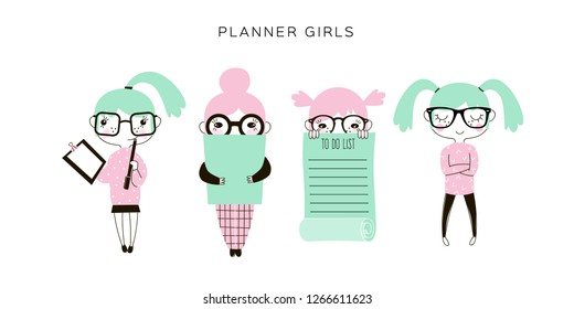 funny cartoon nerdy planner girls set, office concept illustrations, pastel colours flat vector graphics, kawaii style characters