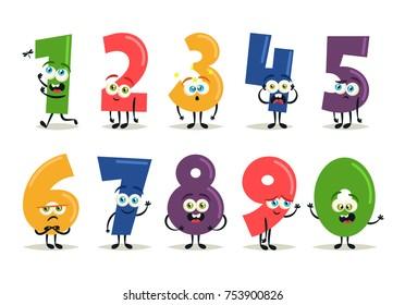 Funny Cartoon Numbers. Vector Set