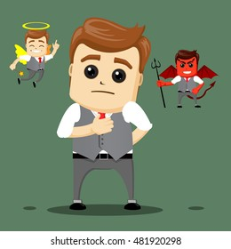 funny cartoon office worker in various poses for use in presentations, etc. Manager character or  businessman making a hard decision. Manager character with angel and devil.