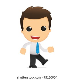 funny cartoon office worker in various poses for use in advertising, presentations, brochures, blogs, documents and forms, etc.