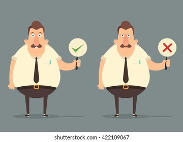 Funny Cartoon Office Workers Holding Right and Wrong Signs. Happy and Grumpy Emotions. Vector Illustration