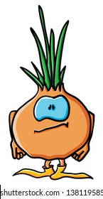 Funny cartoon onion on the white background
