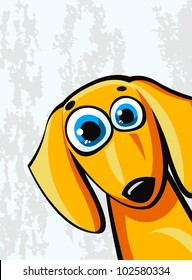 Funny cartoon orange dachshund dog on a abstract background