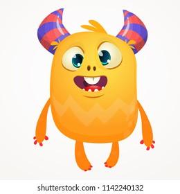 Funny cartoon orange monster. Halloween vector illustration of excited monster. Big set of cartoon monsters