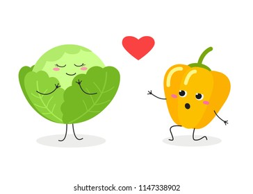 Funny cartoon pepper in love kneeling in front of cute cabbage and confessing his feelings. Vector flat illustration isolated on white background