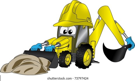 Funny cartoon picture with excavator in helmet
