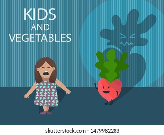 Funny cartoon picture with small kid who afraid of vegetable character - pink cute radish behind her with big ugly evil shade. Crying child don't like veggies. Dark scary room. Creative concept