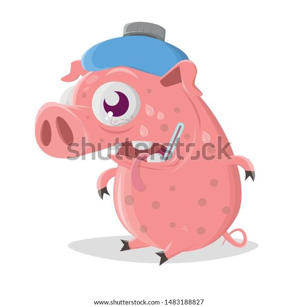 Funny Cartoon Pig Has Flu Stock Vector Royalty Free 1483188827