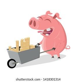 funny cartoon pig with money pushcart