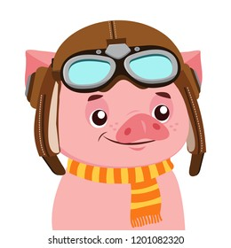 Funny Cartoon Pig Vector Character. Portrait Of Piggy With Helmet. Cute Animal. Vector Illustration Isolated On White Background. Aviator Theme.