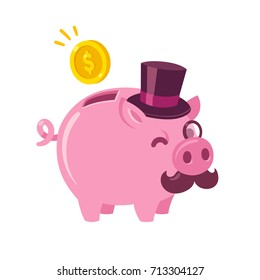 Funny cartoon piggy bank drawing. Cute pig with capitalist attributes: top hat, mustache and monocle. Money and finance vector illustration.
