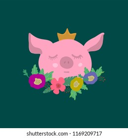 Funny cartoon piggy with crown and floral. Template for greeting or birhtday card.  Year of the pig.