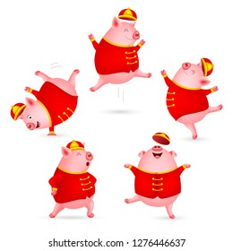 Funny cartoon pigs characters wearing Chinese costume. Happy Chinese New Year concept. Happiness pigs dancing. Illustration isolated on white background.